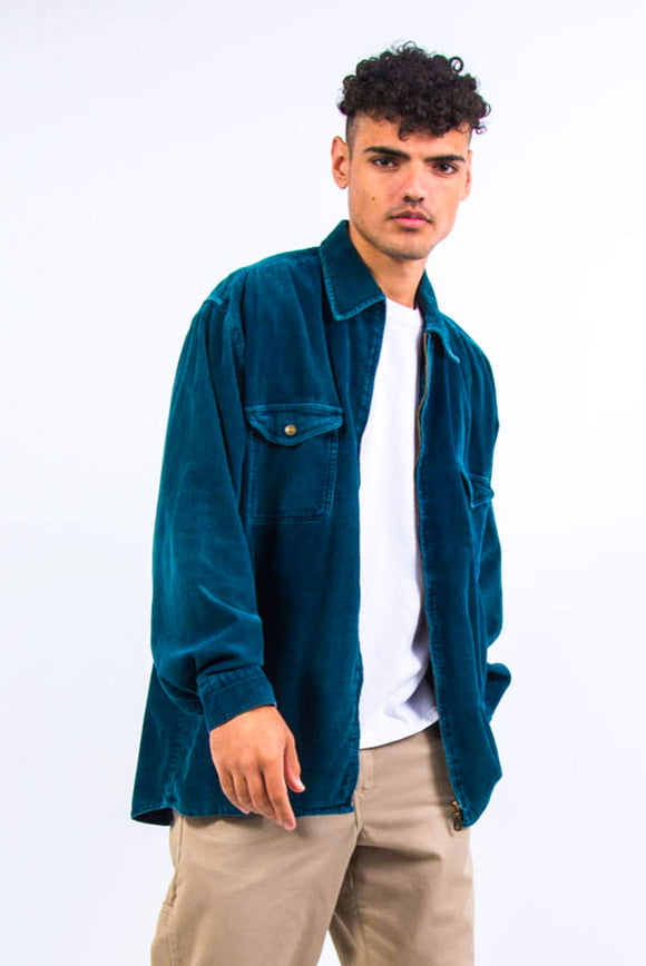 90's Blue Chunky Cord Shirt Jacket