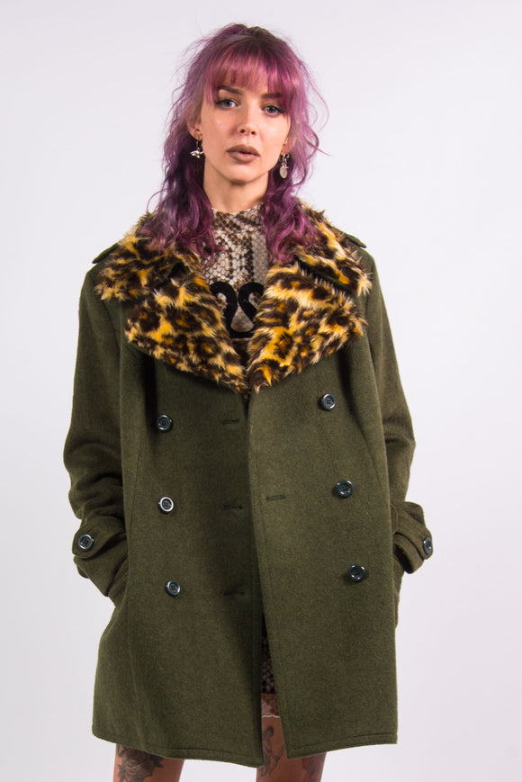 Vintage 90's Coat with Leopard Faux Fur Collar
