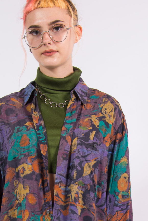 Vintage 90's Abstract Print Long Sleeved Shirt