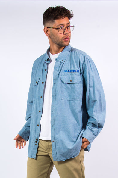 90's Carhartt Denim Style Work Shirt