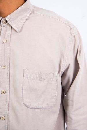 90's Vintage Stone Beige Cord Shirt