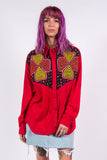 Vintage 90's Red Western Embroidered Yoke Shirt