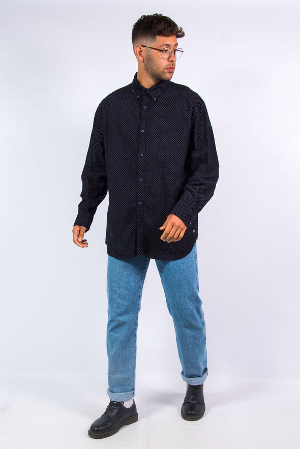Navy Blue Patterned Cord Shirt