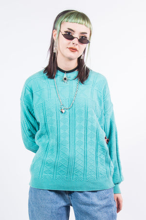 Vintage 90's Green Grandad Knit Jumper