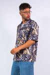 Vintage Leaf Print Hawaiian Shirt