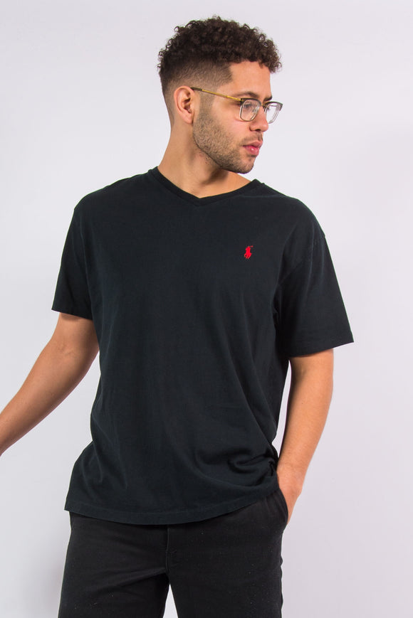 Ralph Lauren v-neck black t-shirt with red embroidered logo on chest