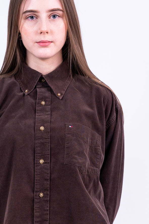 Vintage 90's Tommy Hilfiger Cropped Cord Shirt