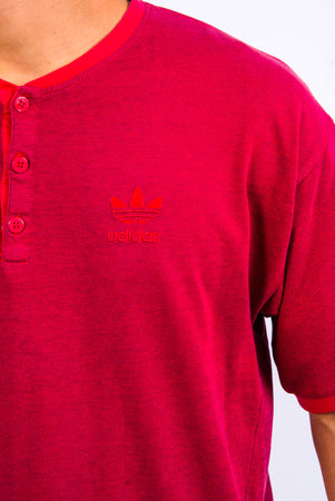 Vintage Adidas Button Neck T-Shirt