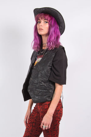 Vintage 90's Leather Patchwork Western Waistcoat
