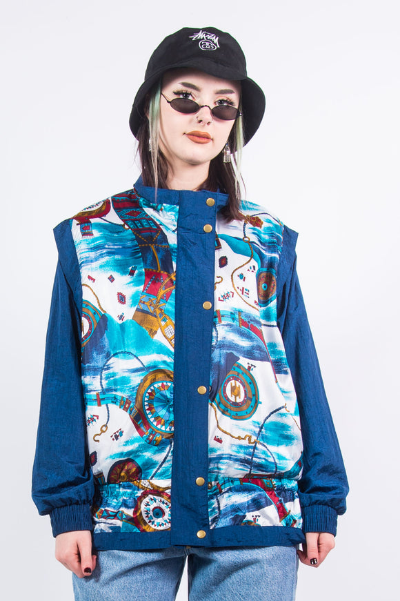 Vintage Abstract Print Shell jacket