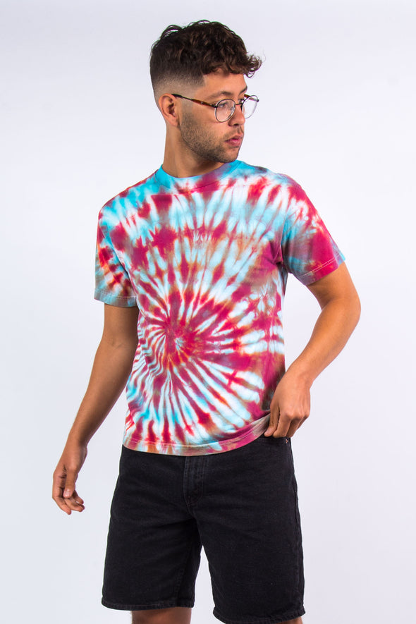 90's Blue And Red Tie Dye T-Shirt