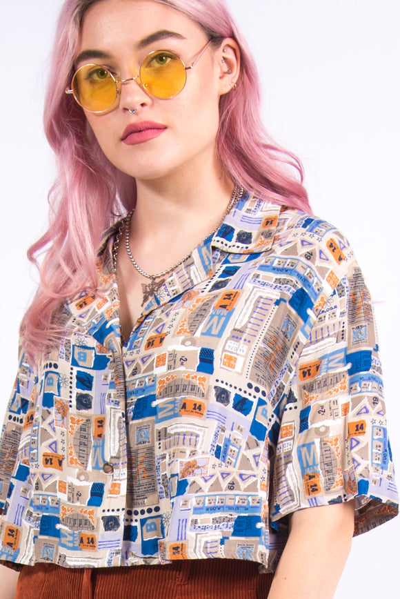 Vintage 90's Vacation Print Cropped Shirt