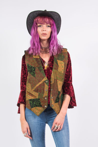 Vintage Patchwork Embroidered Suede Waistcoat