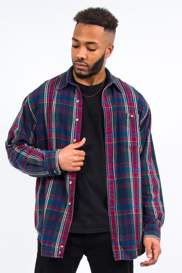 90's Vintage Checked Flannel Shirt