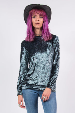 Vintage Blue Crushed Velvet Grunge Top