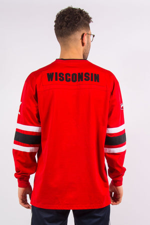 Vintage Wisconsin Badgers College Ice Hockey Style Jersey