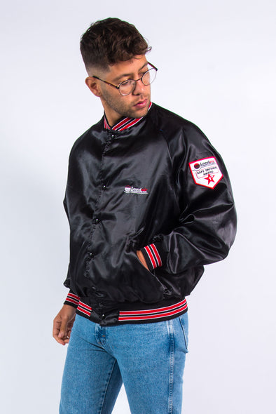 Vintage Black Shiny Baseball Jacket