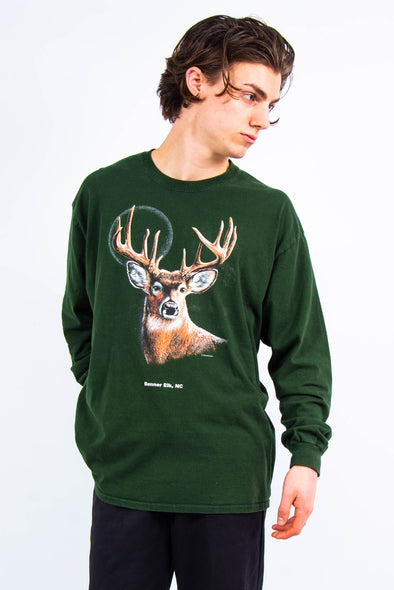 Retro Deer Print Long Sleeve T-Shirt