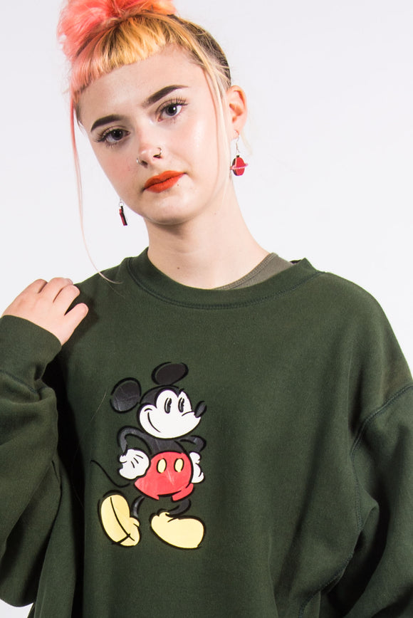 Vintage Disney Green Mickey Mouse Sweatshirt