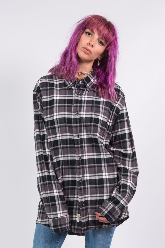 Vintage 90's Grey Checked Flannel Shirt