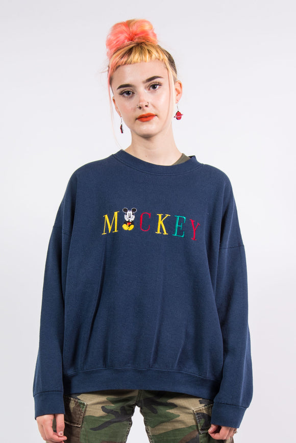 Vintage 90's Disney Embroidered Mickey Mouse Sweatshirt