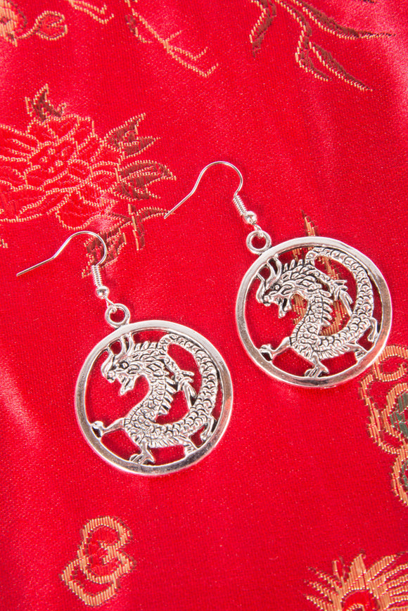Y2K Dragon Circular Earrings
