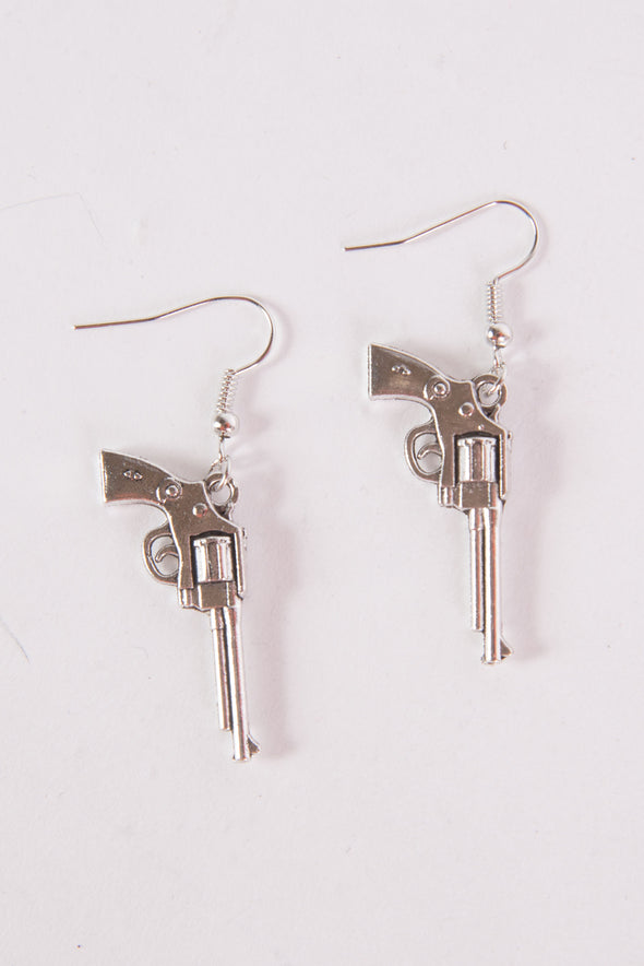 Silver Revolver Earrings