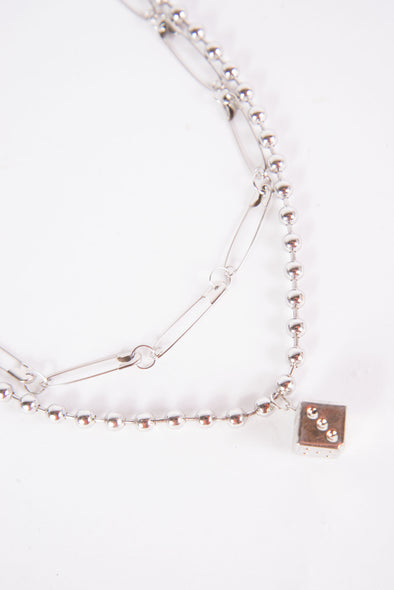 Y2K Safety Pin & Dice Necklace