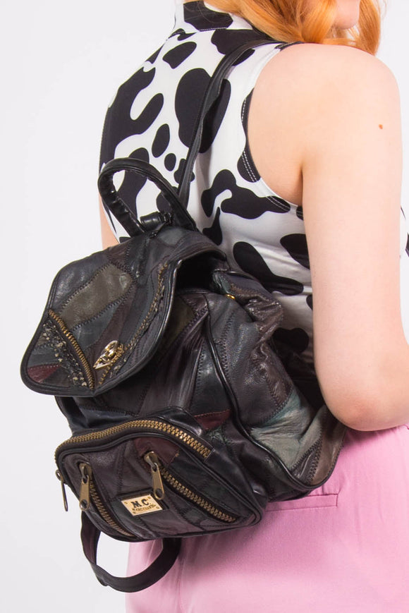Vintage 90's Patchwork Leather Rucksack Backpack