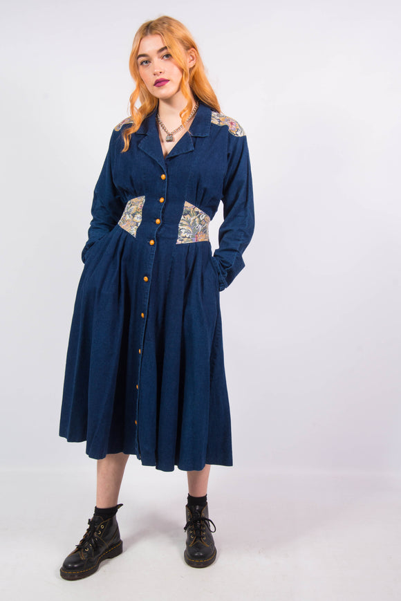 Vintage 80's Denim Western Dress