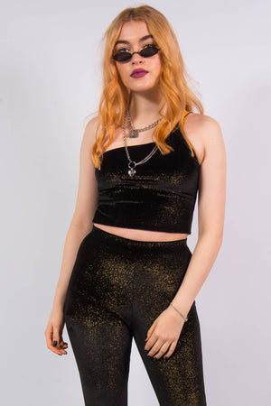 Y2K Gold Glitter Velvet One Shoulder Crop Top
