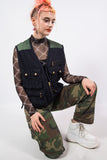 Vintage Navy Blue and Green Utility Vest