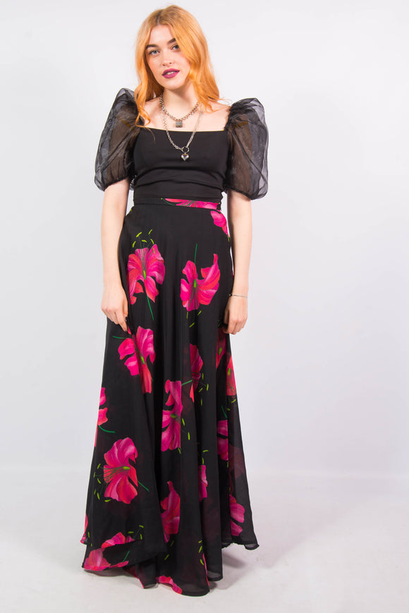 Vintage 70's Floaty Floral Print Maxi Skirt