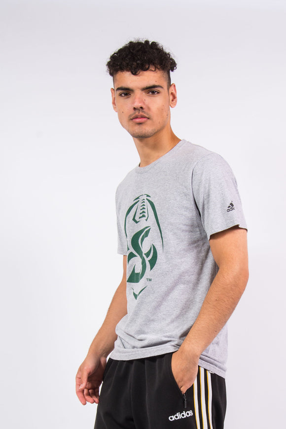 Adidas grey t-shirt with rugby print