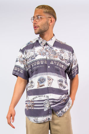 90's Vintage Patterned Short Sleeve Shirt