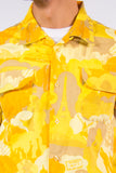 Vintage Yellow Abstract Print Shirt
