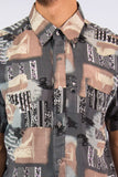 Vintage Patterned Festival Shirt Ibiza Nineties