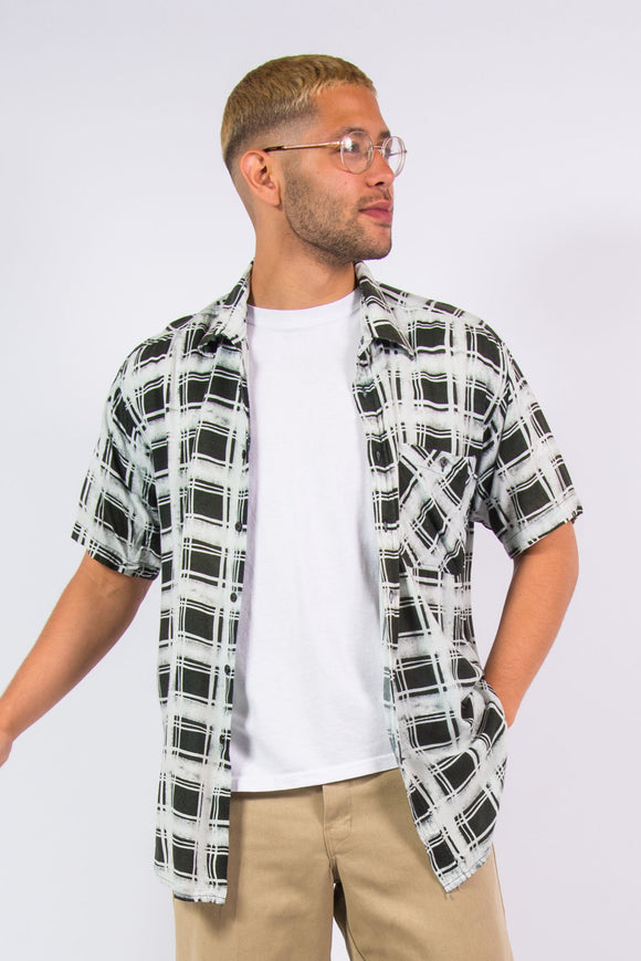 Vintage 90's Check Pattern Rayon Short Sleeve Shirt