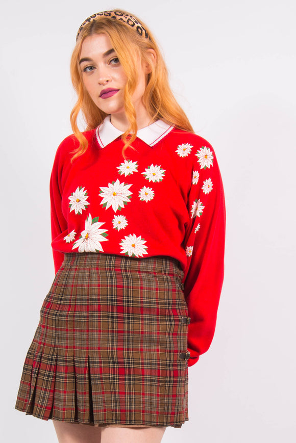 Vintage 90's Cute Floral Red Collared Sweatshirt