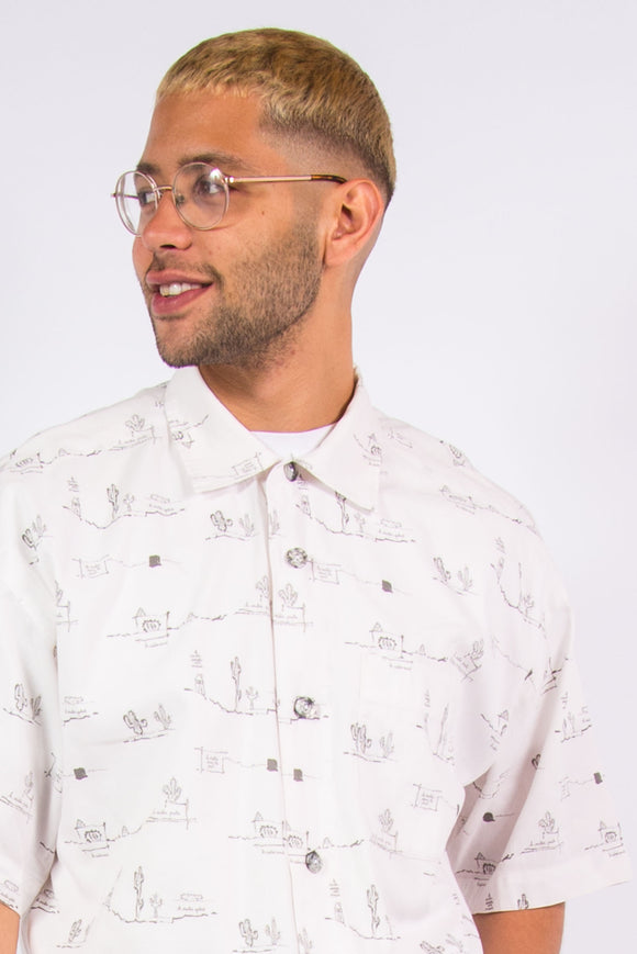 Vintage white & grey cactus print short sleeve shirt.