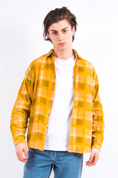 Vintage Yellow Check Cord Shirt