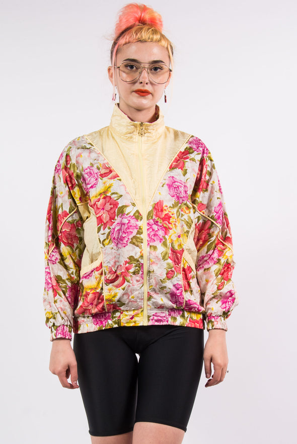 Vintage 90's Yellow Floral Shell Tracksuit Jacket