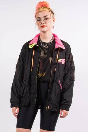 Vintage 90's Black Neon Lightweight Ski Jacket