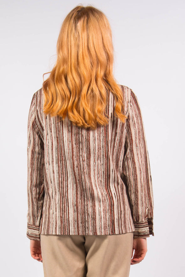 Vintage 70's Striped Tie Neck Shirt
