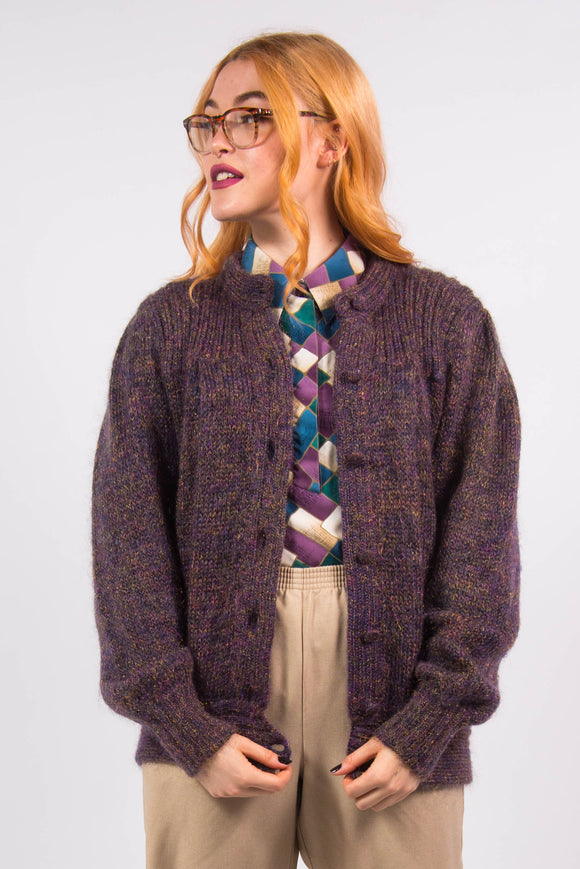Vintage 90's Purple and Gold Knit Cardigan