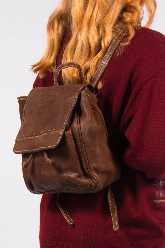 Vintage 90's Brown Leather Rucksack Backpack