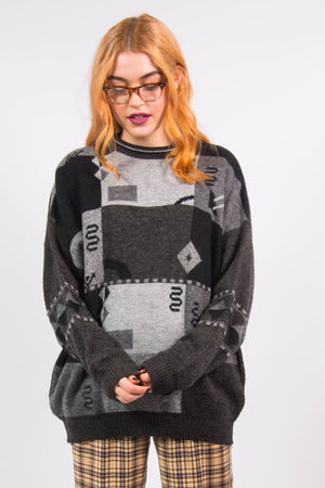 Vintage 90's Grey Grunge Knit Jumper