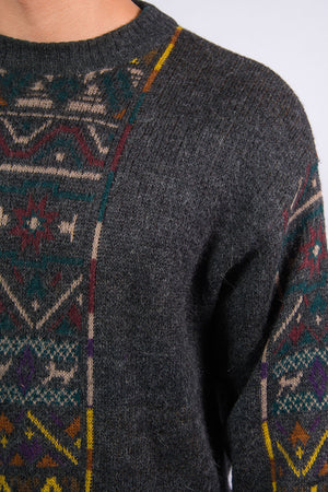 90's Vintage Patterned Knit Jumper