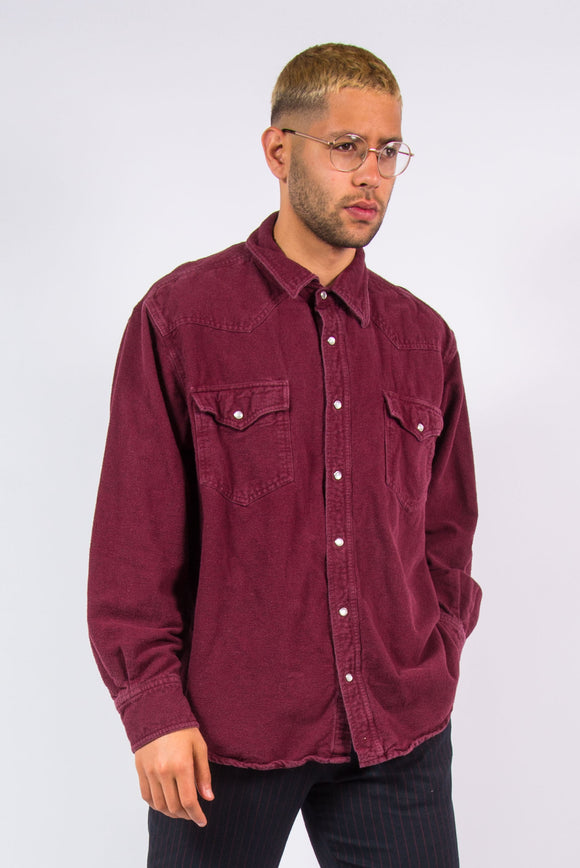 90's Plain Flannel Shirt Burgundy