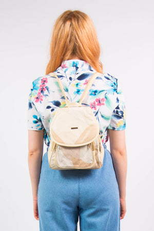 Vintage White Leather Backpack Rucksack
